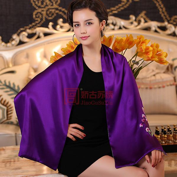 手绣真丝围巾|丝绸礼品|苏绣商务礼品
