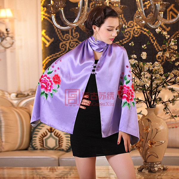 手工苏绣披肩|百分百真丝手绣围巾|苏州刺绣礼品