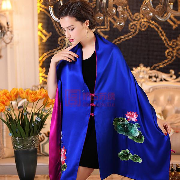 宝蓝色手绣荷花披肩|重磅双层真丝礼服披肩|丝绸礼品