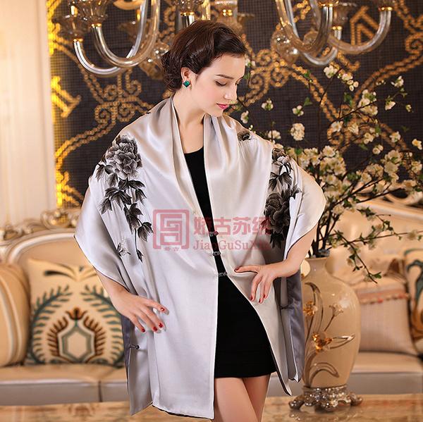 真丝盘扣工艺披肩|刺绣精品披肩|可披可围大围巾