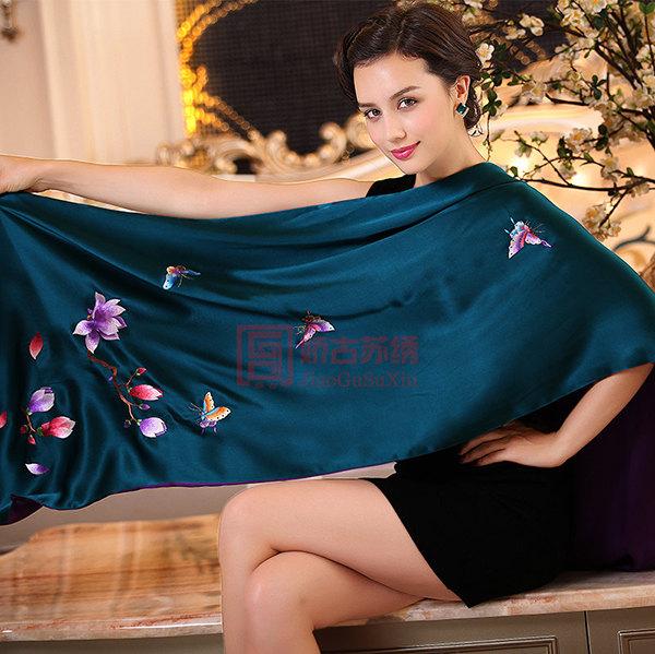兰花手工刺绣披肩|苏绣围巾|送客户特色礼物
