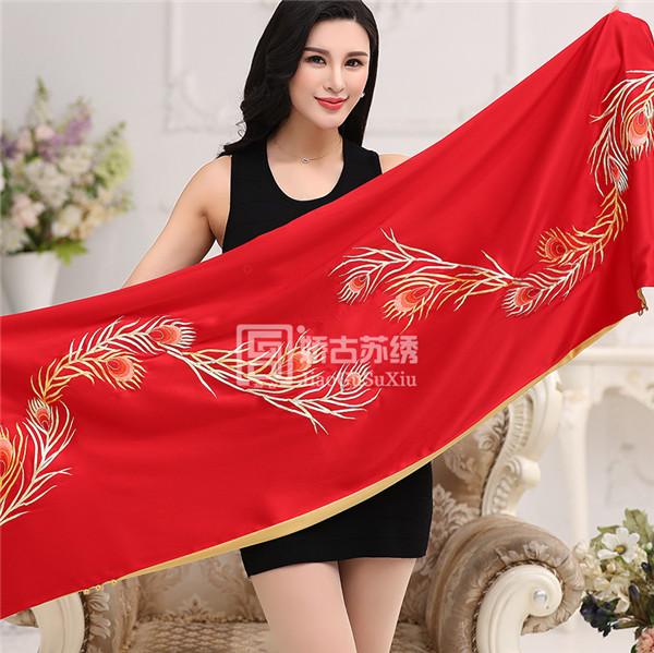 中国风女士刺绣披肩围巾两用|桑蚕丝绣花旗袍服饰