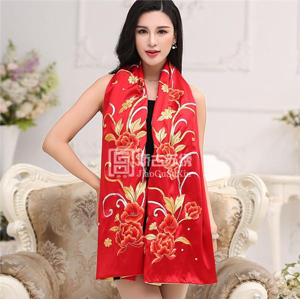 大红色双层刺绣披肩|真丝艺术围巾|苏绣原创设计服饰