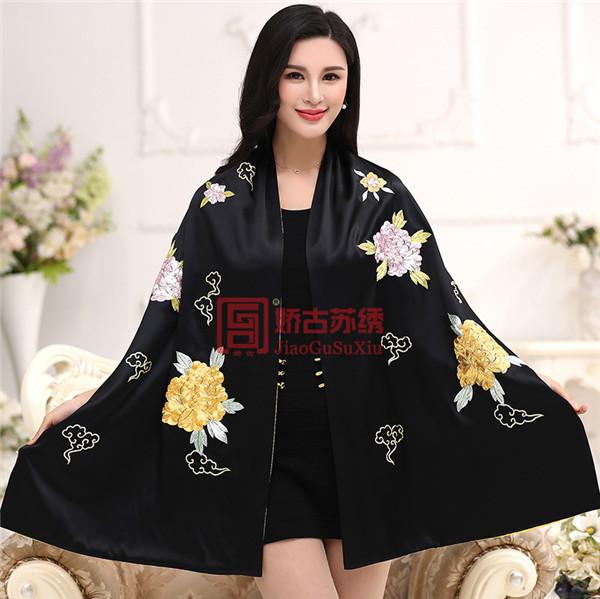 中国风苏绣披肩 手绣披肩外套 长款文艺礼服披肩