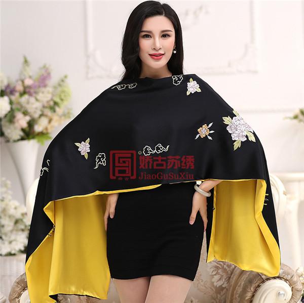 中国风苏绣披肩|手绣披肩外套|长款文艺礼服披肩