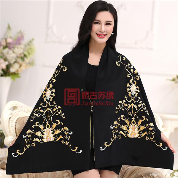 苏州刺绣创意披肩|文化艺术长款披肩|真丝礼服披肩外套