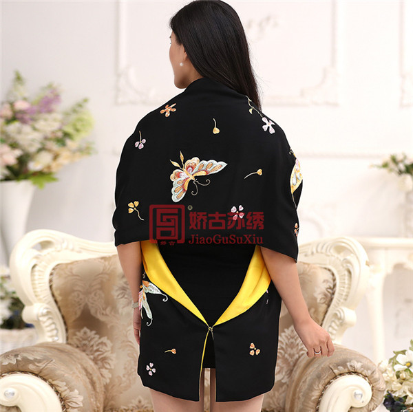 绣花蝴蝶披肩|工艺绣品披肩|特色手工艺文化精致披肩