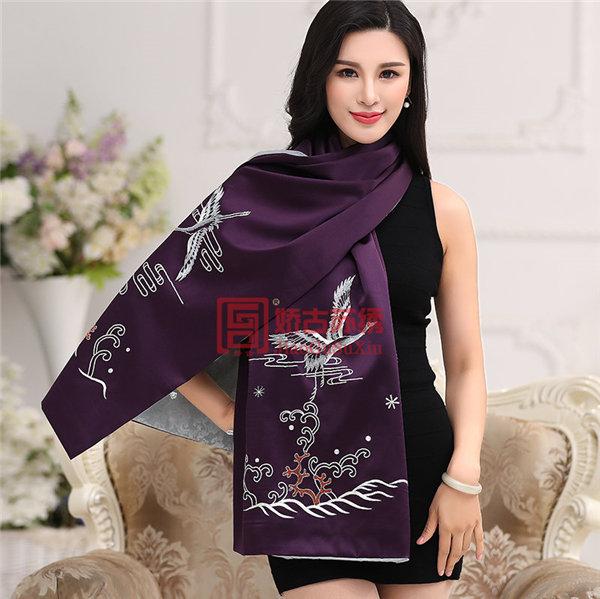 苏州刺绣披肩银色绣|原创设计中国风披肩|紫色真丝双层面料