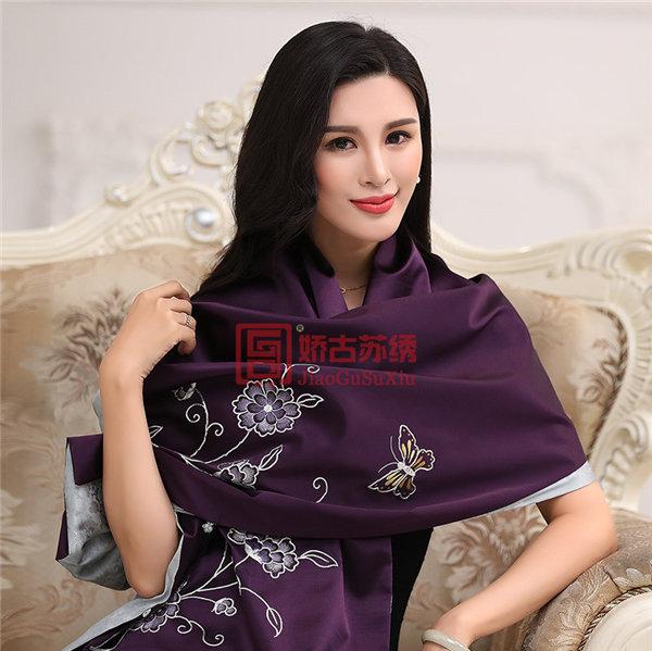 苏绣设计师原创作品|厂家直销手工刺绣围巾|苏州特色丝绸艺术品