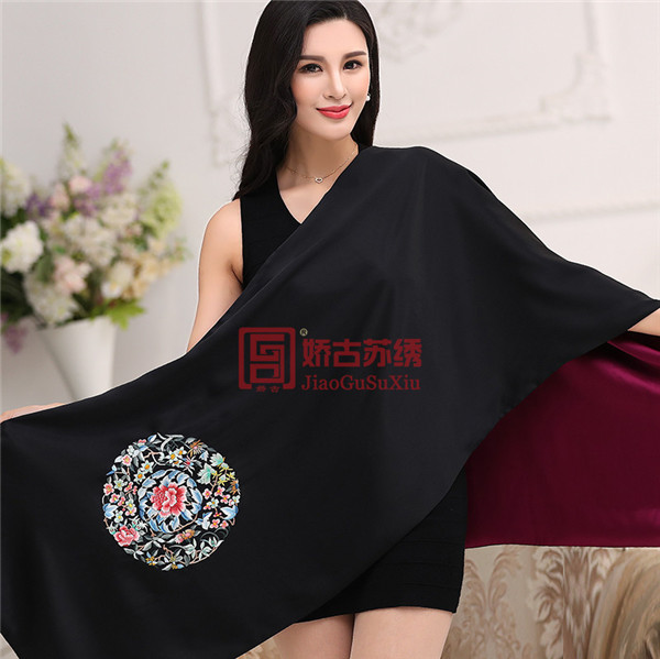 中国传统刺绣元素披肩|高雅苏绣艺术披肩外套|送领导礼物