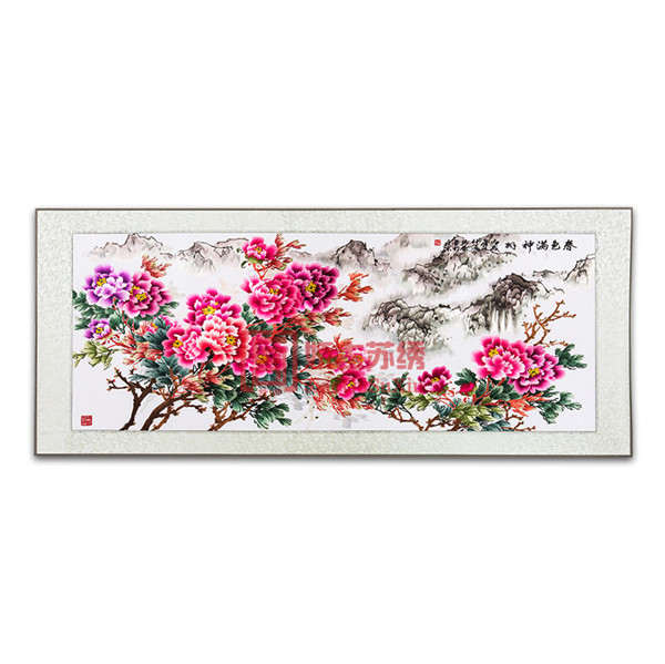 苏绣软裱画|春色满神州刺绣画|携带出国海外特色礼物