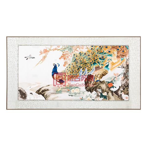 孔雀手工刺绣画|苏绣成品壁画|中国企业特色商务外事礼品