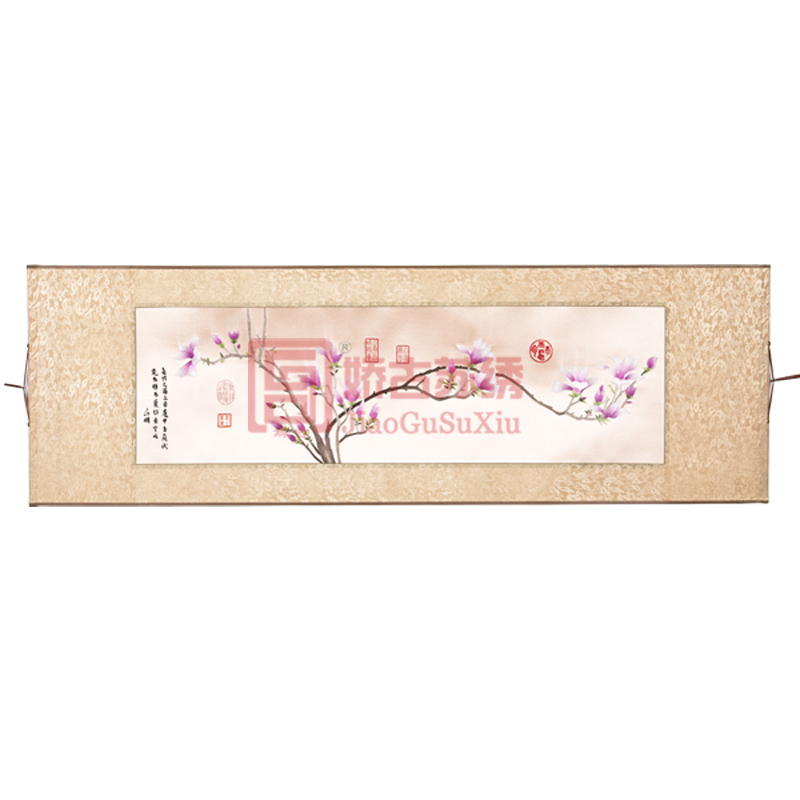 玉兰花苏绣卷轴画|中国出国特色商务礼品|送海外客户