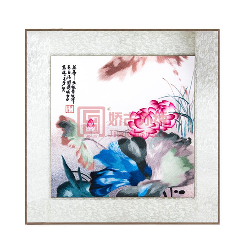并蒂荷花手绣画|中国传统绣品|苏州刺绣礼品