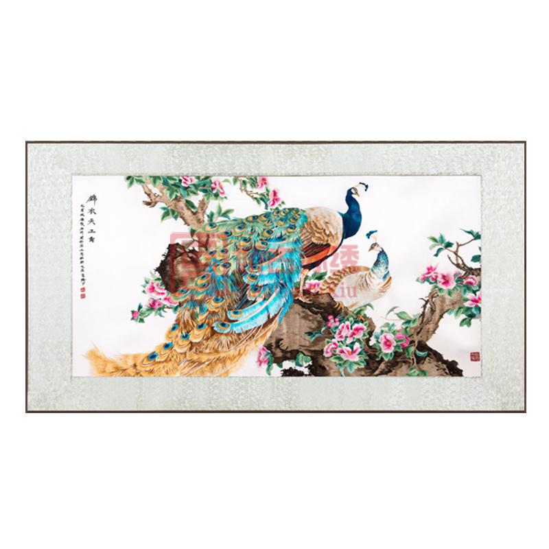 锦衣天工手工刺绣画|丝绣孔雀画|中国特色送海外客户