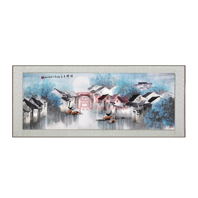 苏绣卷轴画湖畔月色|江南水乡风格刺绣挂画|特色手工艺画