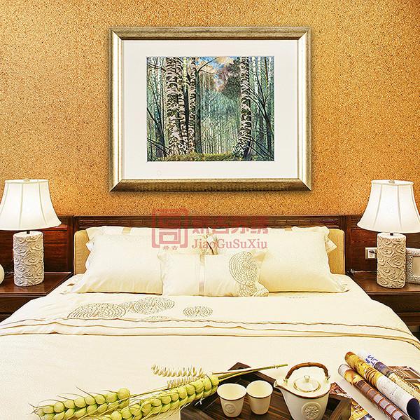 苏绣精品白桦林装饰画|卧室精致装饰挂画|古典刺绣画