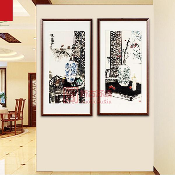 书房苏绣两件套画|中式装饰刺绣画|苏绣精品