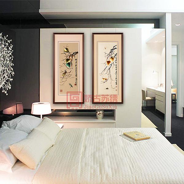 苏绣六件套装饰画|酒店会所中式刺绣装饰画