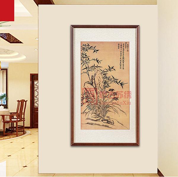 中式实木框手工刺绣画|线条花卉苏绣画|书房苏绣挂件