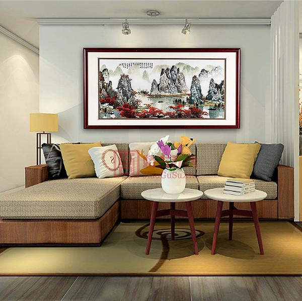 漓江山水风景刺绣画|酒店客厅中式风情手工刺绣装饰画精品