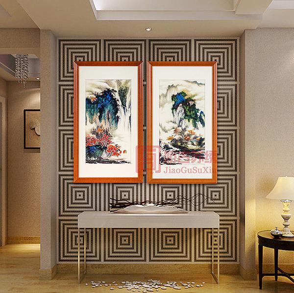 飞流瀑布风水刺绣画|中式装修装饰画|手绣苏绣壁画