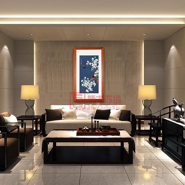 苏州刺绣画精品|富贵满堂手工绣品画|竖状大型壁画