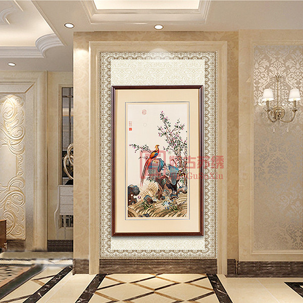 古典元素中式刺绣画|花鸟苏绣画精品|手绣藏品