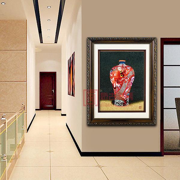 龙瓷中国红苏绣精品画 刺绣艺术品 精致手工艺品