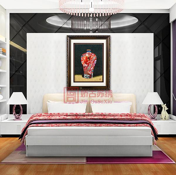 龙瓷中国红苏绣精品画|刺绣艺术品|精致手工艺品