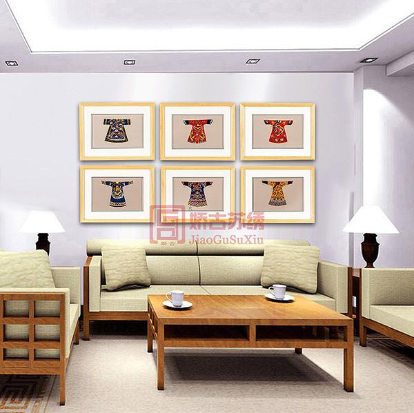 打籽绣龙袍系列刺绣画|卧室装饰刺绣小画|走廊过道画