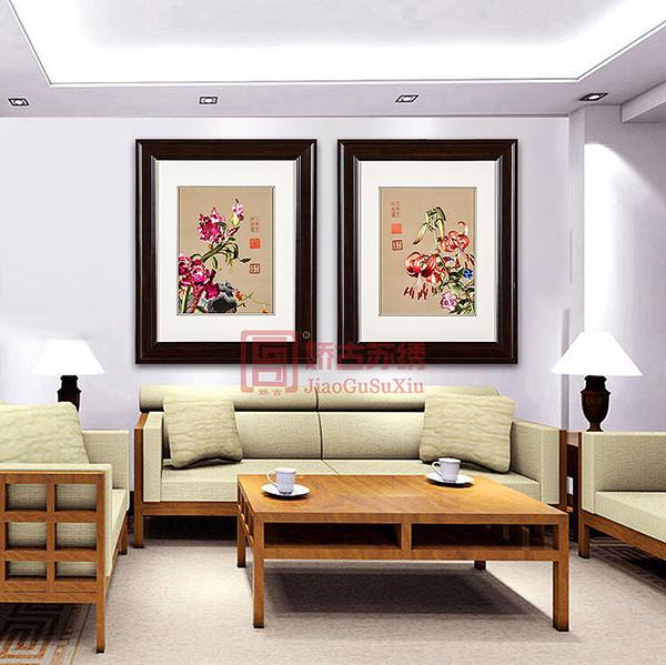 郎世宁花鸟刺绣画 餐厅装饰中式画 古典特色苏绣画
