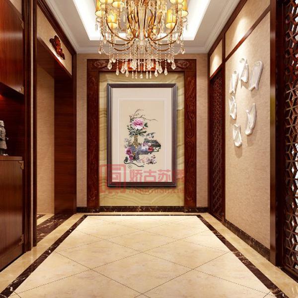 平安富贵刺绣画|中式牡丹吉祥图|卧室客厅苏绣成品挂画