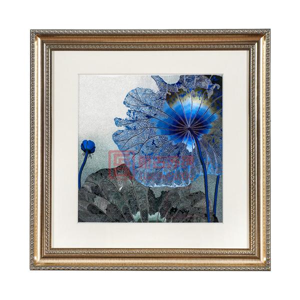苏绣成品精品画 中欧结合卧室装饰壁画 蓝色荷花刺绣画