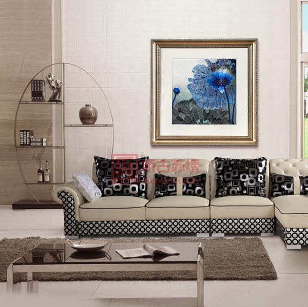 苏绣成品精品画|中欧结合卧室装饰壁画|蓝色荷花刺绣画