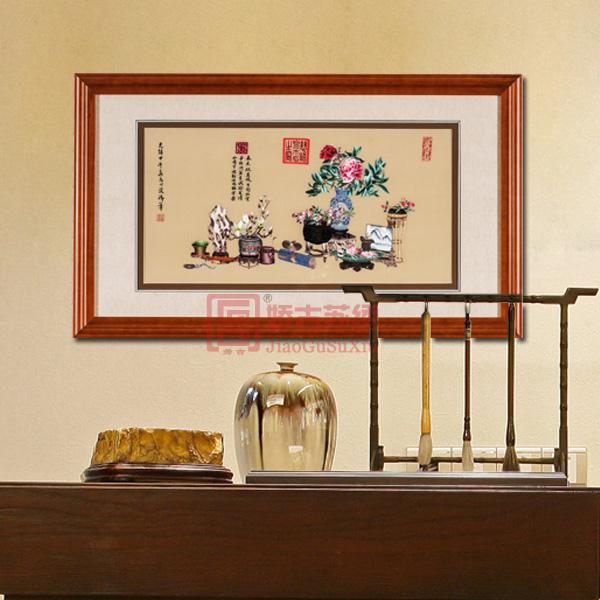 卧室高雅刺绣壁画 岁朝清供苏绣名画 经典传统刺绣品