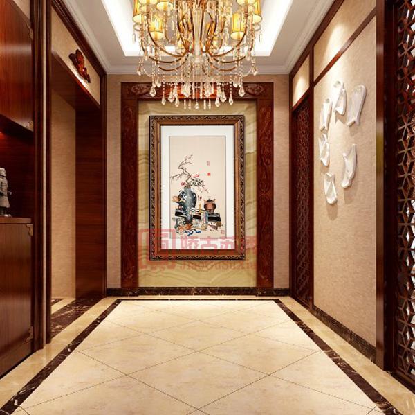 五子登科古典装饰画|中华传统民族风刺绣画|苏绣玄关壁画