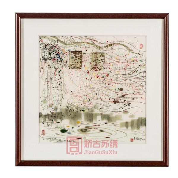 吴冠中名家字画|线条素描刺绣画|高雅苏绣艺术画