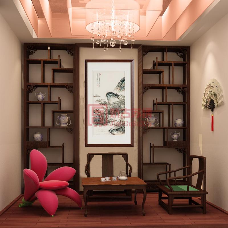 苏绣中式山水画|书房卧室装饰精品画|中国刺绣名品