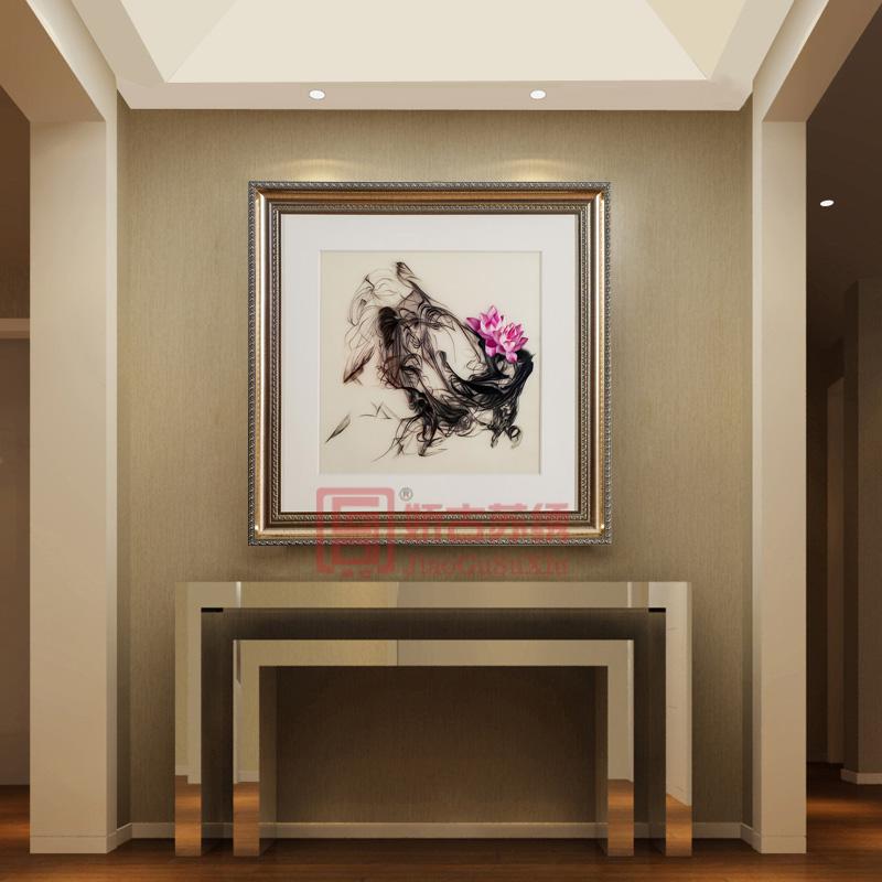 一团和气正方形苏绣画|抽象型浪漫刺绣画|刺绣艺术画