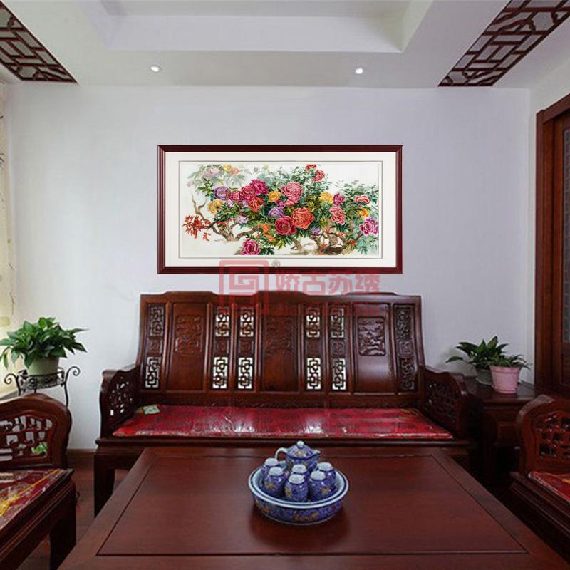 客厅苏绣装饰画 中式牡丹刺绣成品挂画 手工刺绣画