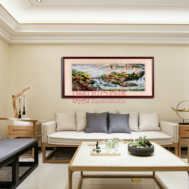 中式客厅风景山水画|苏绣成品画|会议办公室手工绣品画