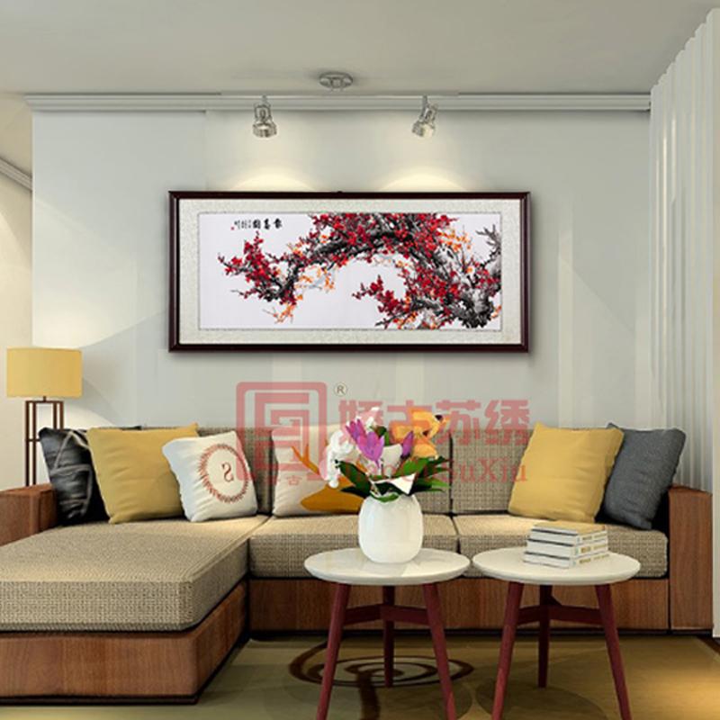 报春图刺绣画|中式客厅挂画成品|大厅梅花手绣壁画