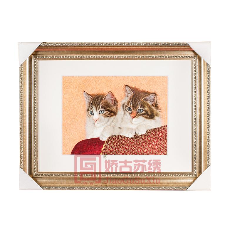 苏绣装饰画 苏州手工刺绣壁画 精品苏绣猫玄关客厅挂画