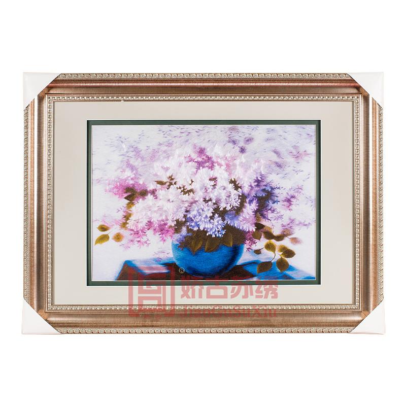 精品苏绣装饰画 紫丁香手工刺绣壁画 苏州特色单面绣挂画
