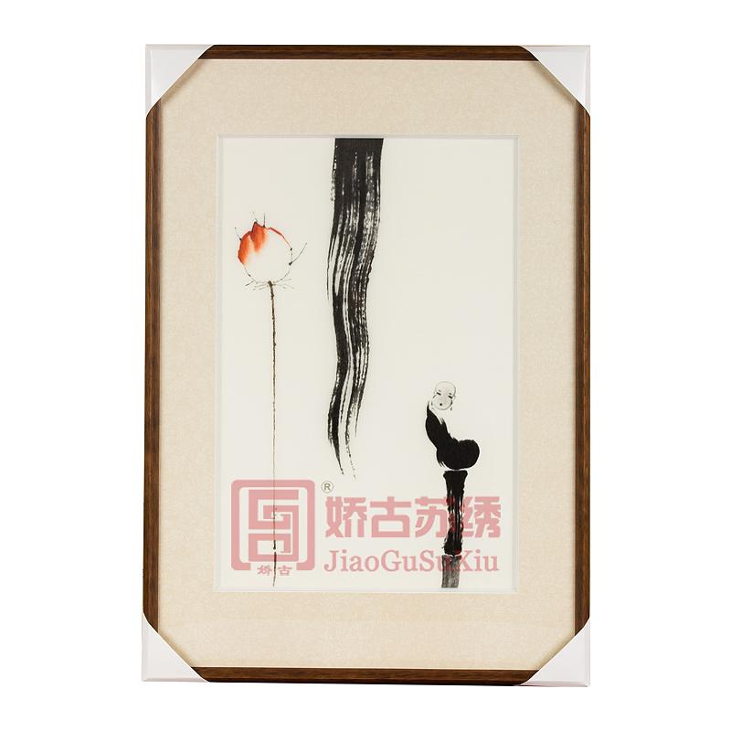 苏绣装饰画|禅意书房办公室刺绣画|苏州手工刺绣挂画