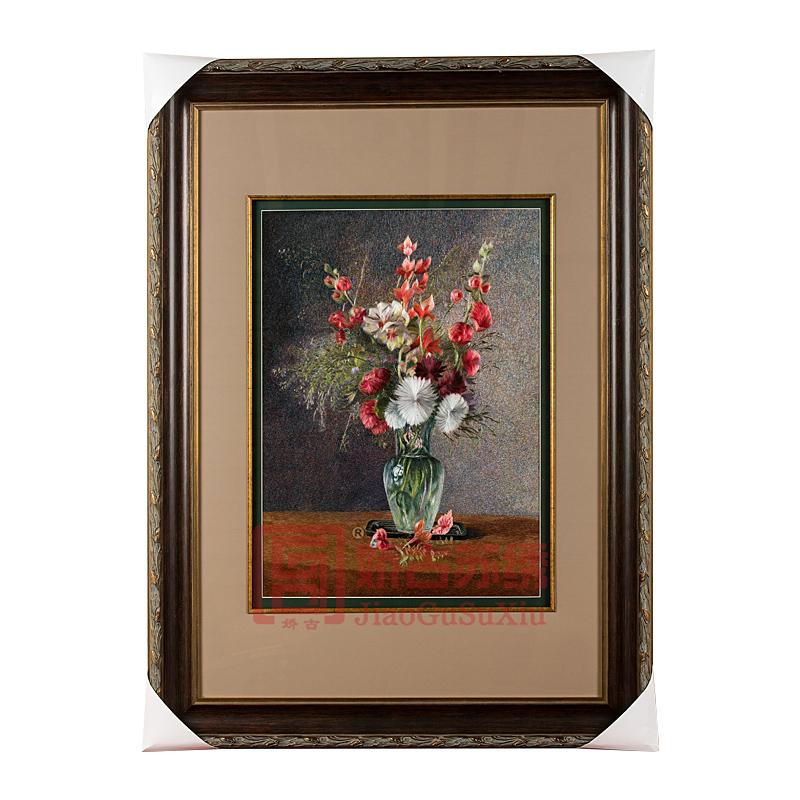 精品苏绣静物花卉装饰画|油画风格苏绣画|欧式装饰画