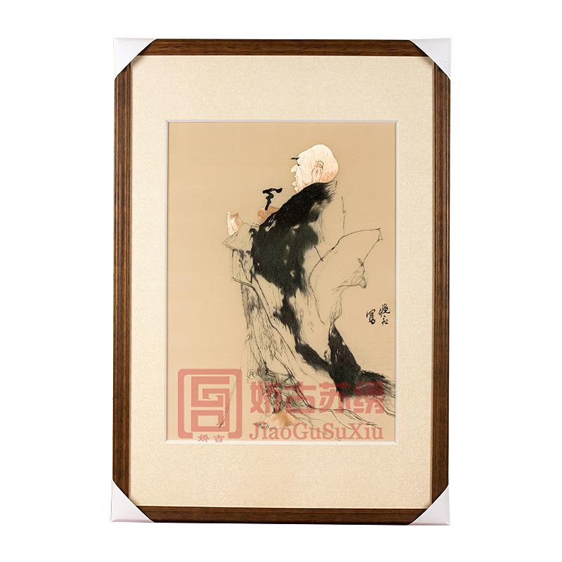 精品苏绣装饰画|名人字画刺绣画|张晓飞【达摩】手工刺绣