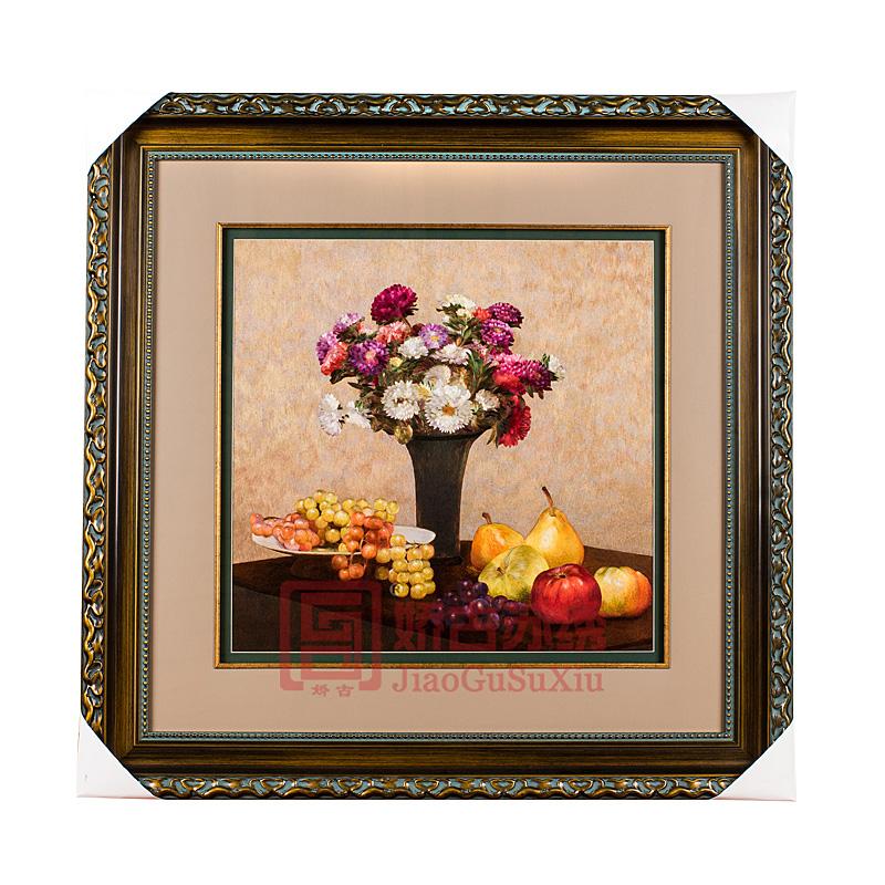 精品苏绣装饰画|油画风格水果插花刺绣画|欧式风格装修装饰画