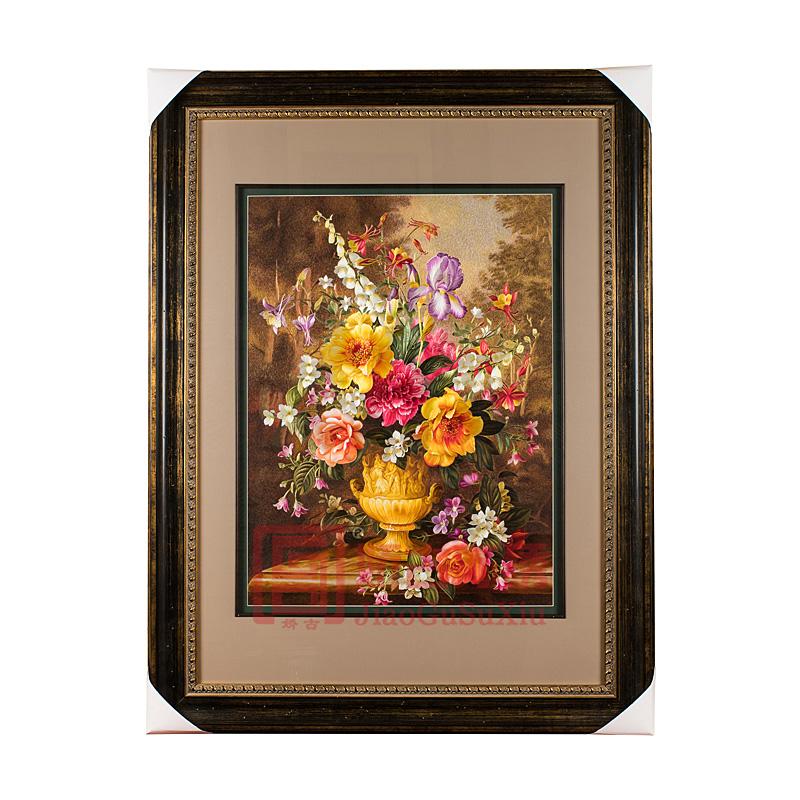 精品苏绣装饰画 油画风格满绣静物花卉餐厅 卧室装饰画
